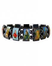 Браслет-оберег с изображением святых (гематит)